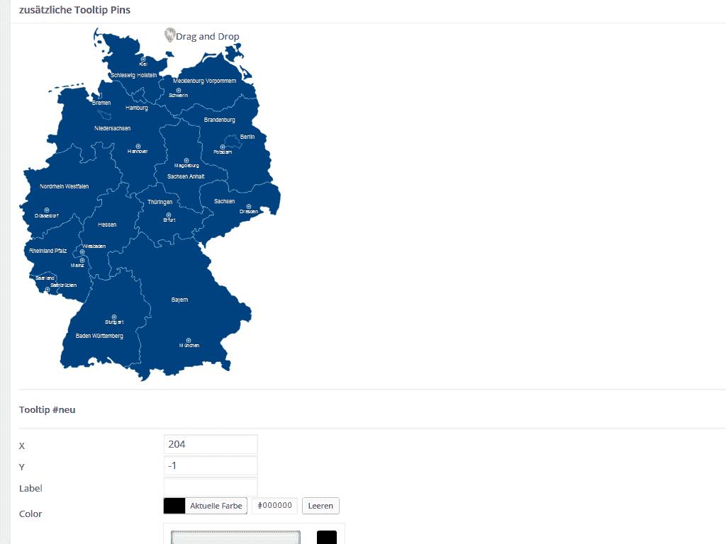 Marker in Karte einfügen im WordPress Plugin