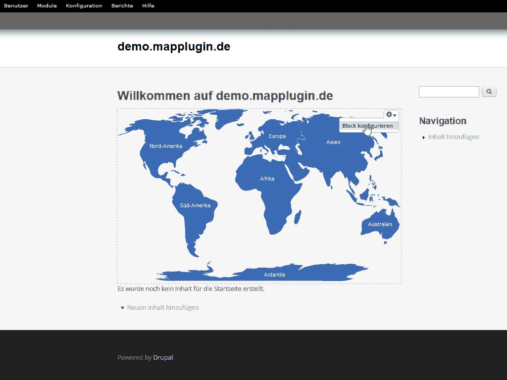 Starten des Drupal Map Moduls um es zu bearbeiten