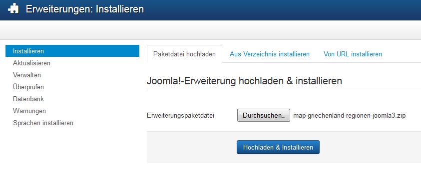 Joomla Modul hochladen und Installieren