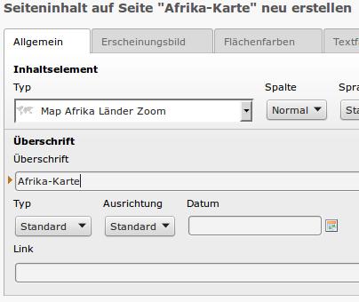 Typo3 Map Extension steht zum Bearbeiten bereit