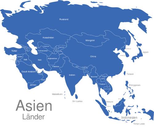 Asien Länder Karte.Asien Länder