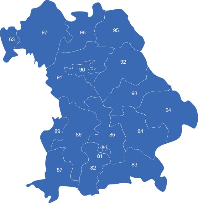 Postleitzahlen Karte Deutschland.Bayern Plz