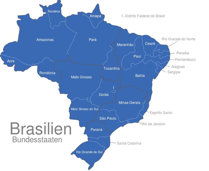 brasilien karte bundesstaaten Brasilien Bundesstaaten interaktive Landkarte   Image maps.de