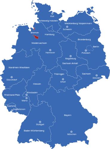 deutschlandkarte bremen Map Bundesländer Hauptstädte Deutschlandkarte Bremen | Image Maps.de