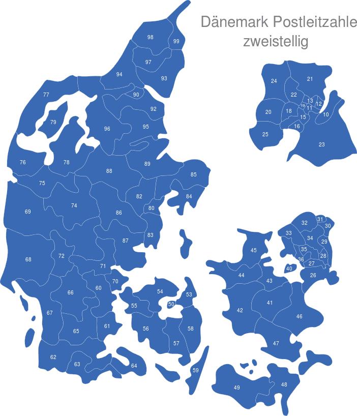 Karte Plz.Dänemark Postleitzahlen Zweistellig