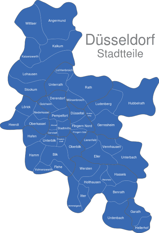 Düsseldorf Karte.Düsseldorf Stadtteile