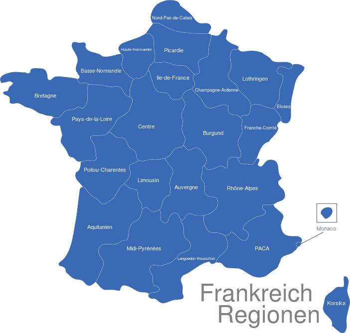 Frankreich Karte Regionen.Frankreich Regionen Mit Monaco