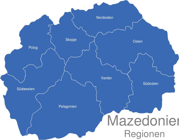 Mazedonien Karte.Mazedonien Statistische Regionen