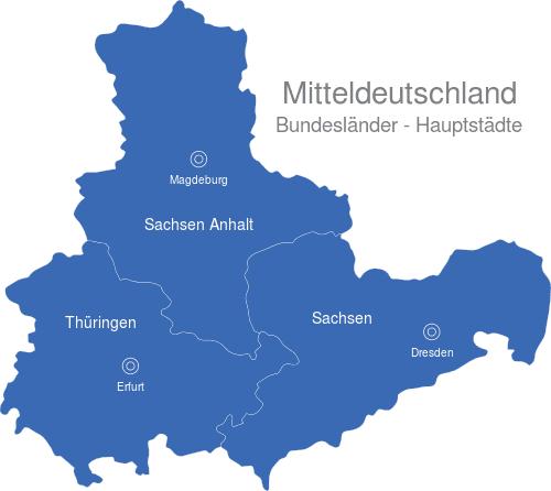 Bundesländer Hauptstädte Karte.Mitteldeutschland Bundesländer Hauptstädte