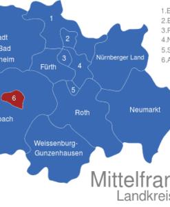 Mittelfranken Karte.Mittelfranken Landkreise