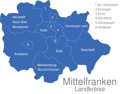 Landkreise Mittelfranken Karte.Mittelfranken Landkreise