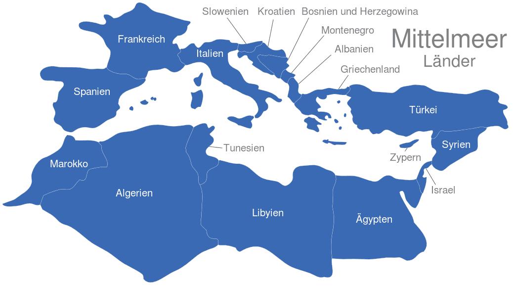 Mittelmeer Karte.Mittelmeer Länder