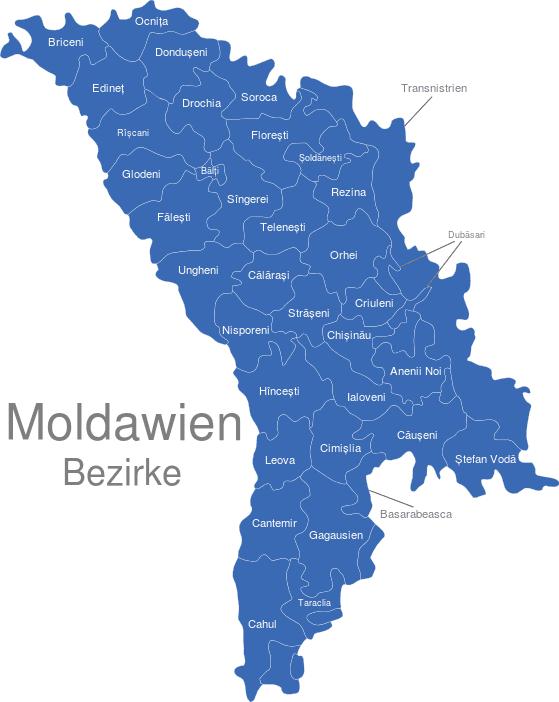 Moldawien Karte.Moldawien Bezirke