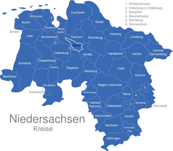 Niedersachsen Kreise Interaktive Landkarte Image Maps De