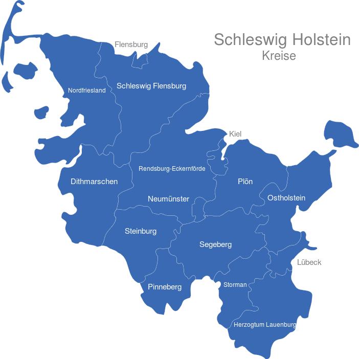 Schleswig Holstein Karte.Schleswig Holstein Kreise