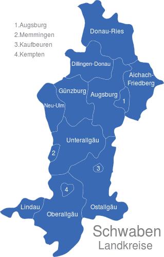 Karte Oberbayern Landkreise.Schwaben Landkreise