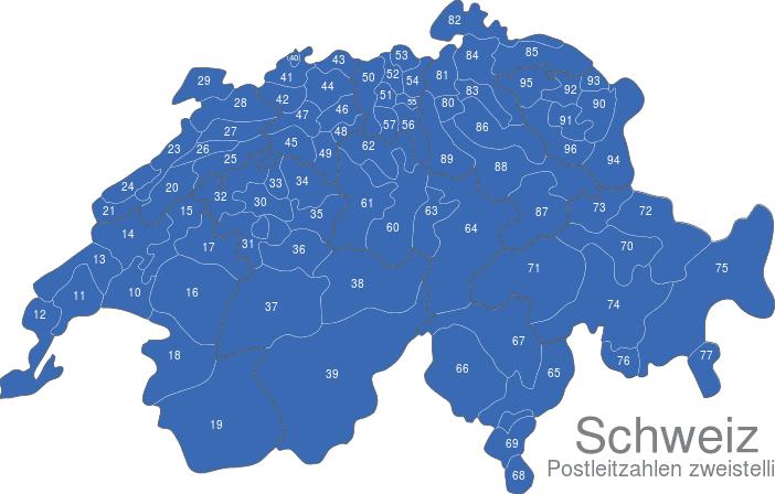 Plz Karte Schweiz.Schweiz Postleitzahlen Zweistellig