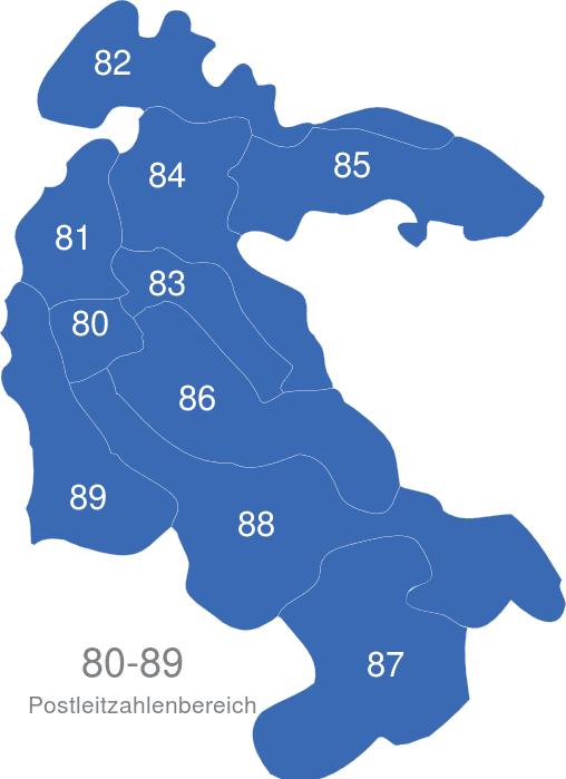 Plz Karte Schweiz.Schweiz Postleitzahlenbereich 80 Bis 89
