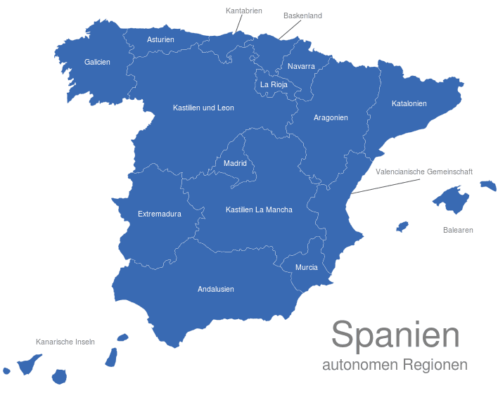 Spanien Regionen Karte.Spanien Regionen