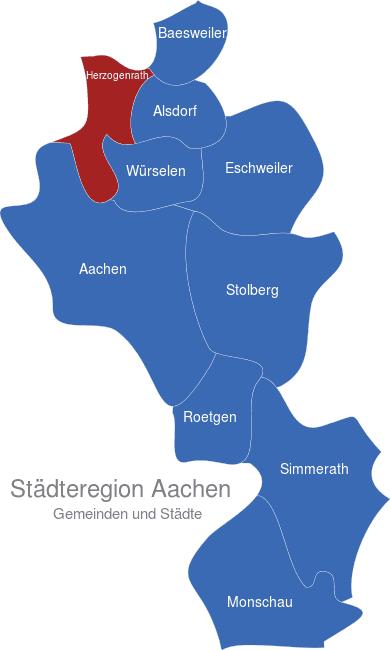 Map Städteregion Aachen Herzogenrath