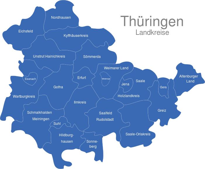 Karte Thüringen.Thüringen Landkreise