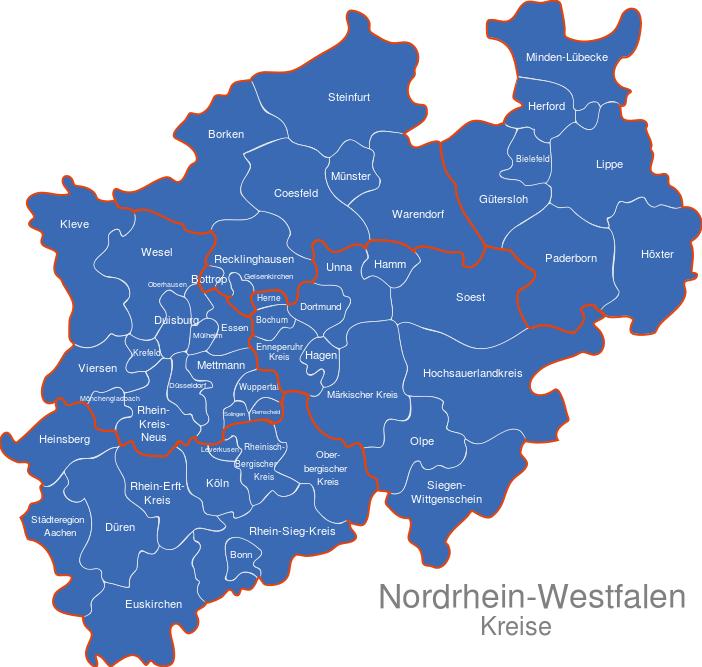 Karte Nrw Plz.Nordrhein Westfalen Nrw Kreise
